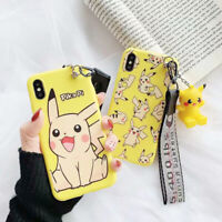 Pokemon Pikachu Doll Wristband Phone Case For iPhone 11 Pro X XS Max XR 6 7 8