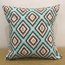 "TEAL GEOMETRIC Mexican Fabric Cushion Pillow Cover. Made Australia. 16""/18""/20"""