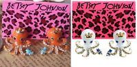 E76 Betsey Johnson Orange /  White Aquatic Reef Marine Sea Octopus Earrings US