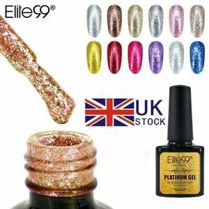 Elite99 Platinum Colour Gel Polish Starry Glitter Top Base Coat Nail Art UV LED