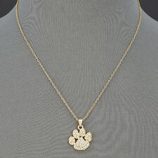 Thin Gold Chain Animal Paw Print Encrusted Clear Rhinestones Pendant Necklace