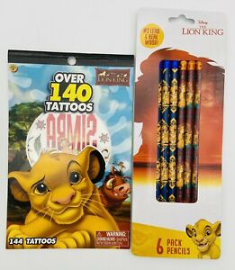The Lion King Character Tattoo Sticker Book And 6/pk Of Pencils Kids Party Favor