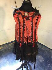 Steampunk Black Lace/Satin Skirt and Red Taffeta Corset M