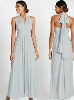 NEW LADIES MAXI DRESS SIZE 22 UK MARKS AND SPENCER MULTIWAY STRAPS SILVER GREY