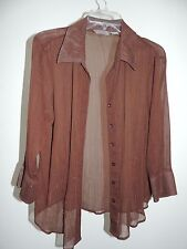 Womens Size X-Large * INVESTMENTS * Brown Button Down Top Blouse Shirt T-3 XL