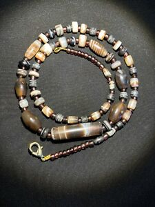 old antique ancient banded agate beads necklace from Himalaya