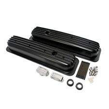 Small Block 350 Retro Vortec Chevy Finned Aluminum Short Black Valve Covers
