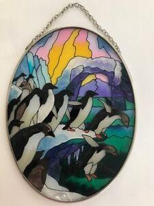 Joan Baker Designs Hand Painted Suncatcher Penguins