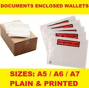 QUALITY PRINTED / PLAIN DOCUMENTS ENCLOSED WALLETS A5/A6/A7 POST PACKET POUCHES