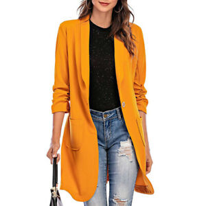 Women Autumn Simple Slim Casual Long-Sleeved Office One-Button Mid-Length Coat