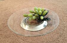 VINTAGE SILVERPLATED GLASS TRAY DISH MADE IN ITALY 1980TH