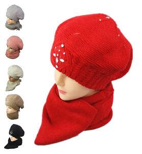 Women Ladies Knitted Woollen Wooly Beanie Hat and Scarf Set Warm Diamond