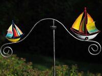 Windspiel * Schiff * Segelboot Maritim Metall Gartenstecker Wippe Boot Segelschi