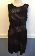 14 Calvin Klein Black Mesh Pattern Dress with Lining Sleeveless Fitted Stretch