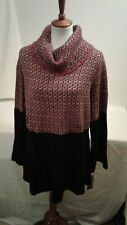 Women's Style&Co chunky turtle neck sweater black red white  size 1x MSRP  $56