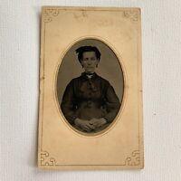 Antique Tintype Photograph Beautiful Fashionable Woman Choker Tinted