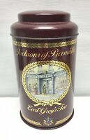 JACKSONS OF PICCADILLY Maroon Vintage Metal Tea Tin Collectable Caddy Canister