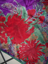 Vtg Vera Neumann Square Silk Scarf Red Floral Mums on Purple Hand Rolled
