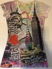 Miss Posh Women's NY Rhinestones T-Shirt Liberty Rockefeller Center V Neck Small
