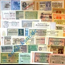 klasse Reichsbanknoten Lot, 34 verschiedene von 1 Mark bis zu Milliarden L@@K
