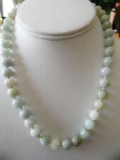 Vintage Natural  Jade Jadeite Bead Necklace with Gold Wash Silver Clasp