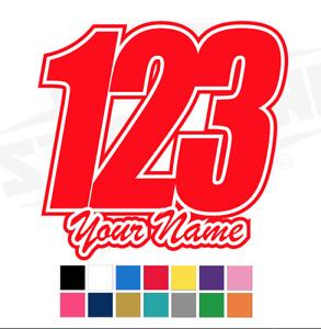 3 X Custom Race Numbers and Name Vinyl Stickers/Decals Race Motorbike MX Kart