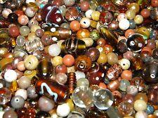 NEW 1/2 Lb. TAN, BROWN 6-15mm Mixture LOOSE BEADS LOT Pearls, Glass, Gemstone