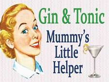 Gin & Tonic Mummy's Little Helper Funny Vintage Retro Gift Small Metal/Tin Sign