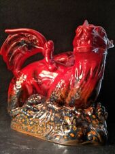 Vintage Dragon Royal Doulton Red Black Flambe Flame Veined 2085 Red Black Blue