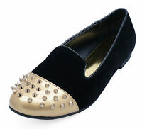 LADIES FLAT BLACK SLIP-ON STUD SHOES SMART CASUAL LOAFERS BALLET PUMPS SIZES 3-8