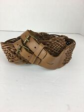 Betsey Johnson Womens Belt L Large Brown Braided Leather Double Buckle