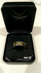 Stainless Steel Silver & Gold Tone with Crystal Ring Size 10