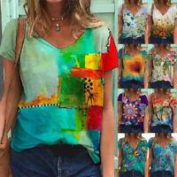 Summer Women V Neck Short Sleeve Blouse Casual Baggy T-Shirt Top Tunic Tee S-5XL