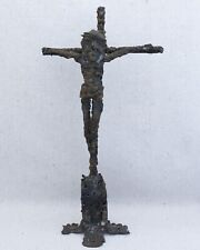 Vintage Mid Century Hand Crafted Brutalist Torch Cut Spill Cast Crucifix Cross