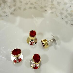 Stylish Red Ruby Faceted Crown Style Dual Finish Mens Whale Back Pair Cufflinks
