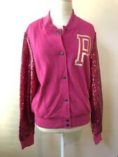 Victoria's Secret PINK Sequin Bling Varsity Jacket Hot Pink Medium NIP