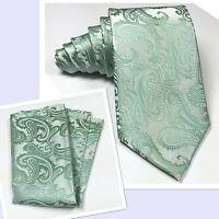 Men's Pstel Mint Green Neck tie and Pocket Square Hankie Set Formal Wedding 20AA