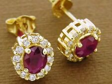 E061 Classic Genuine 9ct Yelow Gold NATURAL Ruby & Diamond Cluster Stud Earrings
