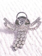 PRETTY ANTIQUE CRYSTAL ANGEL JEWELRY PIN