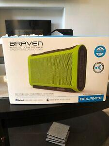 Genuine Braven Balance Portable Waterproof Hd Bluetooth Speaker Lime/Grey 18hrs