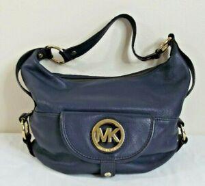 MICHAEL KORS Fulton Navy Blue Leather Hobo Shoulder Bag