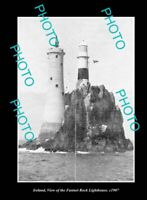 OLD POSTCARD SIZE PHOTO IRELAND THE FASTNET ROCK LIGHTHOUSE c1907