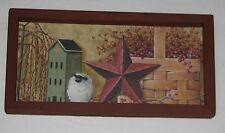Primitive Country Green salt box house star basket  6 inch x 12 inch wall decor