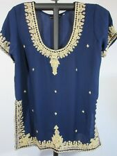 Karma Highway Women's Embellished Tunic Top Blue Gold Embroidery Rayon XL
