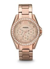 Fossil Riley Multifunction Rose Tone Stainless Steel Watch New with Box