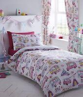 Double Bed Duvet Cover Set Glamping Tents Caravan Festival Floral Checks Multi