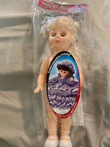 """Sleepy Eyes MUSIC BOX DOLL NO. 3178 FIBRE CRAFT 13"""" Tall New in Package"""