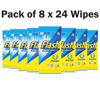 Flash Surface Cleaning Lemon Large Strong Thick XL Tissue - Pack of 8 x 24 Wipes