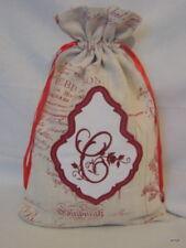 Bourse, sac/pochon de rangement lin et monogramme brodé **C**
