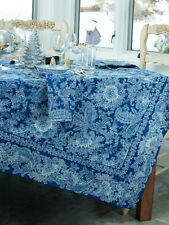 April Cornell Tablecloth Rhapsody Paisley Collection 36x36 NWT 100% Cotton Blue